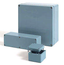 DIN rail enclosure / rectangular / glass fiber-reinforced polyester / screw cover