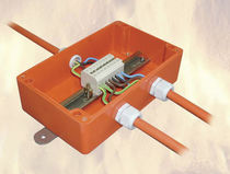Surface mounted junction box / halogen-free / fire-resistant / fiberglass-reinforced polyester