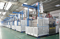 Particle foam molding machine / for EPS / for expanded polypropylene / PLC-controlled
