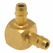 Barbed fitting / elbow / pneumatic / brass