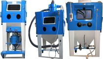 Suction abrasive blasting room / manual / rotary drum / with turntable