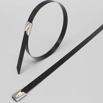 Stainless steel cable tie / flameproof / self-locking / smooth