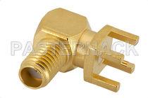 Board connector / coaxial / DIN / elbow