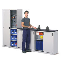 Storage cabinet / free-standing / sliding door / metal