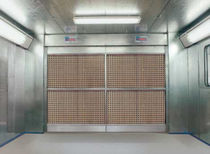 Open paint booth / for vehicles / dry filter
