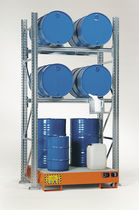 Storage warehouse shelving / for medium loads / for drums with retention tank / adjustable