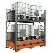 Storage warehouse shelving / for drums with retention tank / adjustable