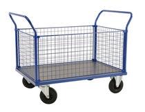 Handling cart / steel / wire mesh platform / multipurpose