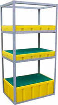 Pallet shelving / light-duty / for drums with retention tank / galvanized