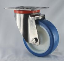 Caster with solid tire / polyurethane / steel / elastic