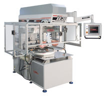 Pad printing machine with hermetic ink cup / for satellite dishes / electropneumatic