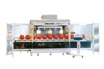 Pad printing machine with closed ink cup / for cylinders / five-color