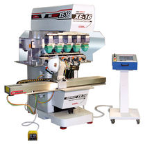 Pad printing machine with closed ink cup / for hardhats / automatic