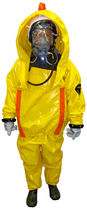 Chemical protection coveralls / high-visibility / PVC / with breathing apparatus
