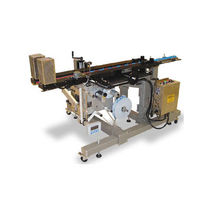 Semi-automatic labeler / in-line / top / for bottles