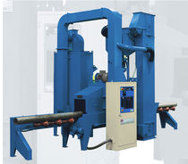 Pass-through shot blasting machine / roller / for pipes / with conveyor