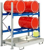 Storage warehouse shelving / for medium loads / for drums / galvanized