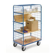 Storage cart / steel / shelf / wire mesh platform