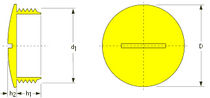 Round plug / threaded / polystyrene