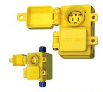 Wall-mounted electrical outlet / weather-resistant / DIN