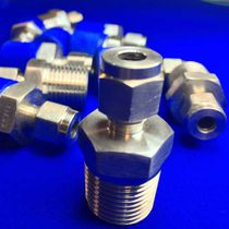 Threaded fitting / straight / hydraulic / stainless steel