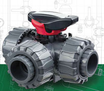 3-way ball valve DN 15 - 50, max. 16 bar | TKD-PVC-U series FIP - Formatura Iniezione Polimeri