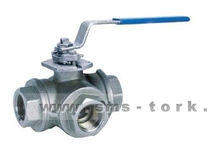 "3-way stainless steel ball valve 1/2"" - 4"", 40 bar 