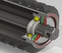 Idler roller with bearings / for conveyor belts