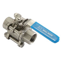 Ball valve / lever / for chemicals / 3-piece