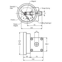 Analog pressure gauge / diaphragm / differential / process