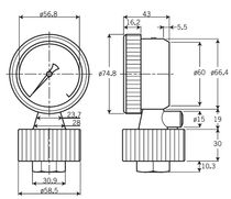 Diaphragm seal with threaded connection / for pressure gauges