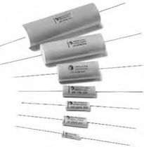 Metalized polyester film capacitor / axial / high-voltage