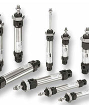 Pneumatic cylinder / double-acting / single-acting / with through rod