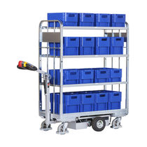 Transport cart / steel / shelf / for containers