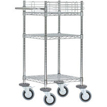 Service cart / steel / 2 levels / wire mesh platform