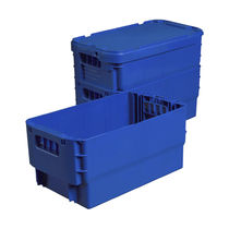 Plastic crate / with lid / reinforced