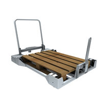 Zinc-plated steel cart / low-loader / for Euro containers / pallet