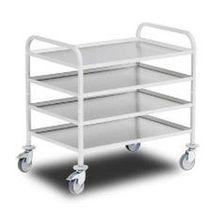 Service cart / aluminum / stainless steel / shelf