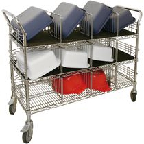 Storage cart / steel / wire mesh platform / 3 levels