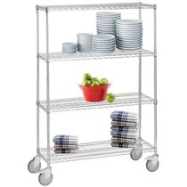 Storage cart / steel / wire mesh platform / multipurpose