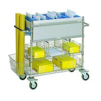 Mail sorting and distribution cart / steel / shelf / multipurpose