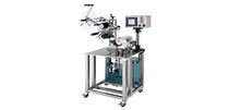 Semi-automatic labelling machine / for cylindrical products / wrap-around / 2-label