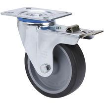Swivel caster / base plate / rubber / pressed steel