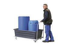 Spill cart / metal / drum / with swivel casters