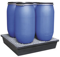 4-drum spill pallet / polyethylene / with galvanized grid