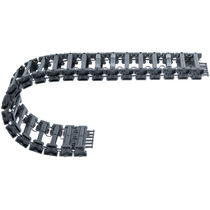 Partially enclosed drag chain / plastic / 3-piece / modular