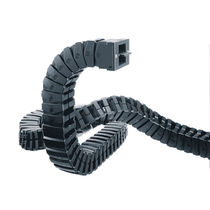 Partially enclosed drag chain / plastic / flexible / modular