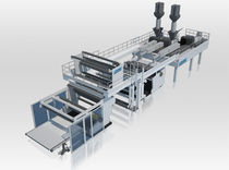 Flat-film extrusion line / for stretch film / for PP / multilayer