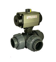 Ball valve / for water / PVC / air-operated