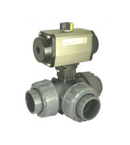 Ball valve / for water / air-operated / 3-way